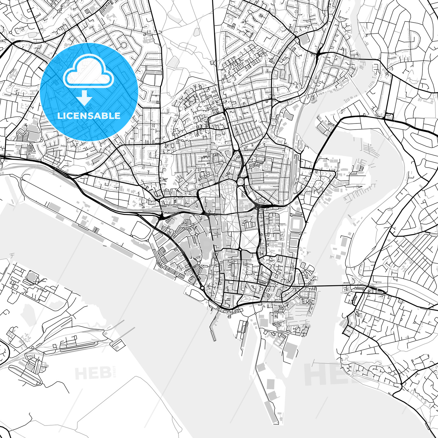 Inner city vector map of Southampton - HEBSTREITS