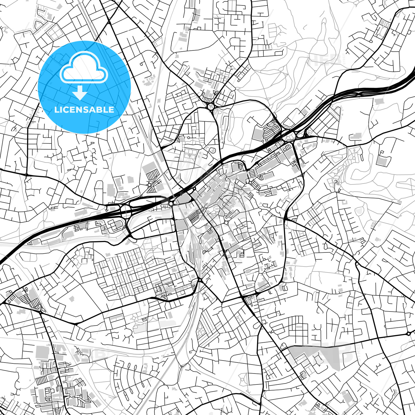 Downtown vector map of Stockport HEBSTREITS