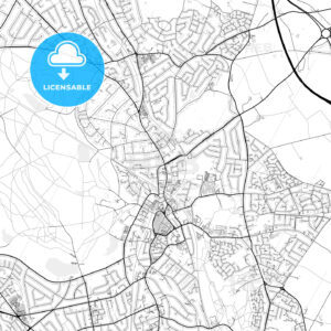 Inner city vector map of Sutton Coldfield - HEBSTREITS
