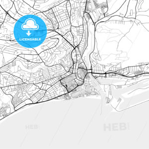 Inner city vector map of Swansea - HEBSTREITS