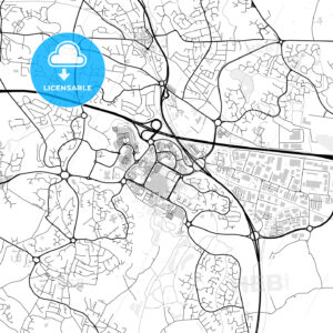 Inner city vector map of Telford - HEBSTREITS