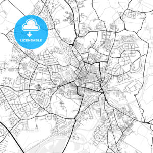 Inner city vector map of Wakefield - HEBSTREITS