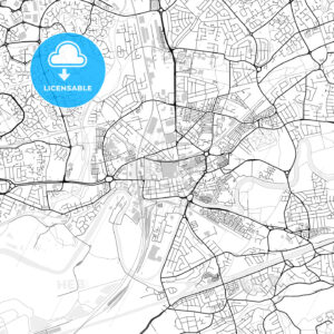 Inner city vector map of Warrington - HEBSTREITS