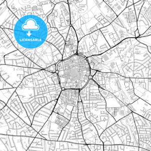 Inner city vector map of Wolverhampton - HEBSTREITS