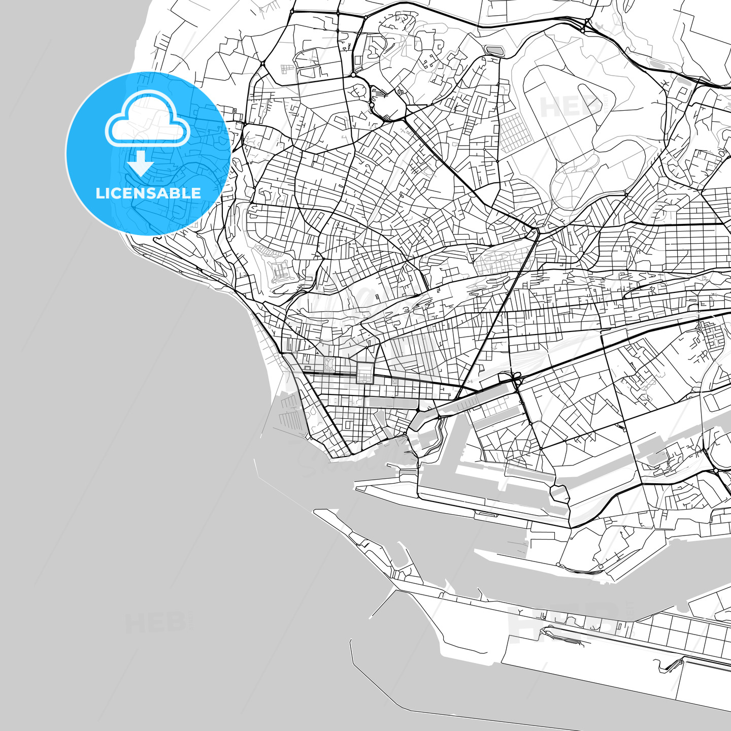 Le Havre, Seine-Maritime, Downtown Vector Map - HEBSTREITS