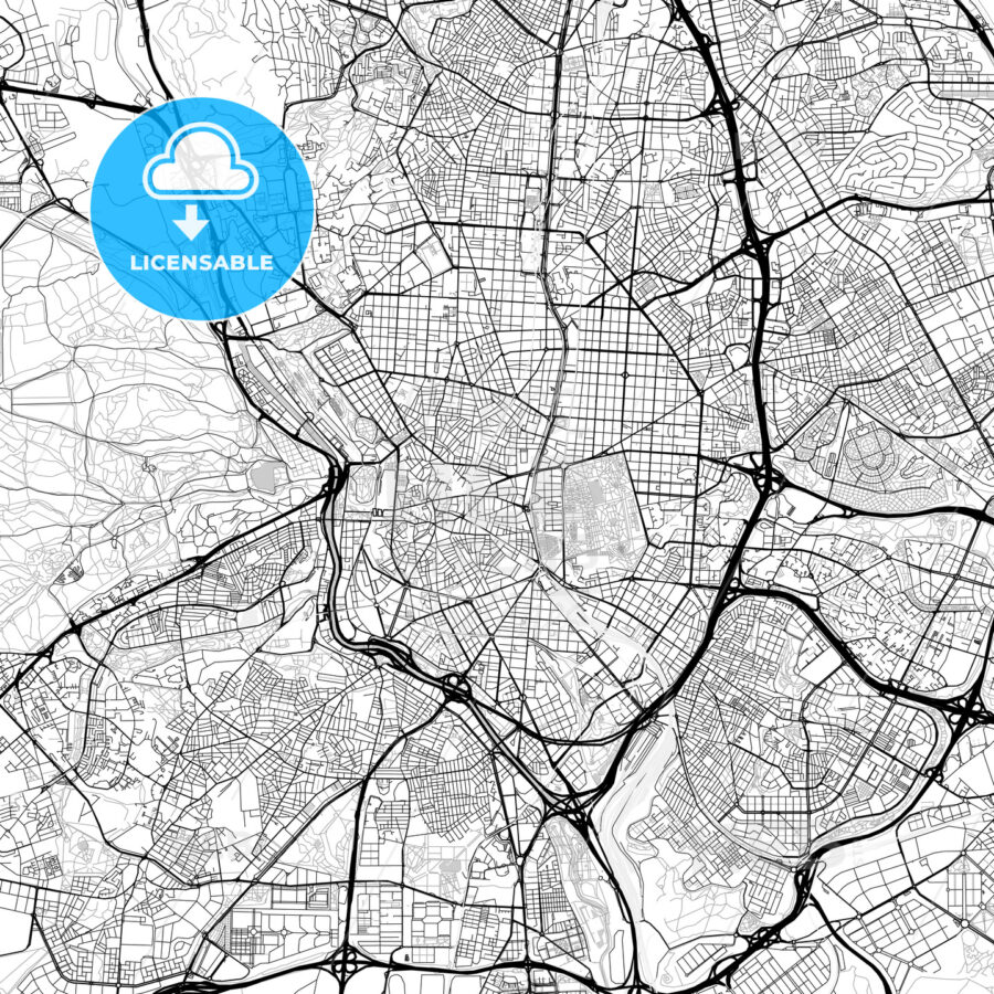 Madrid, Spain – Downtown Vector Map - HEBSTREITS