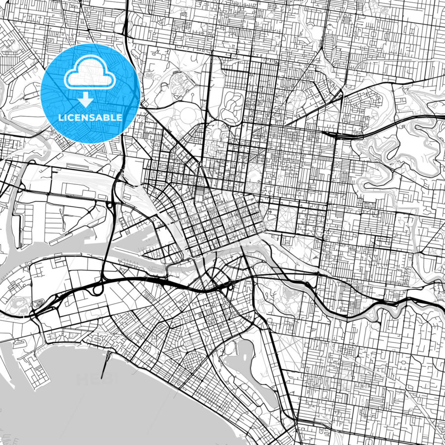 Melbourne, Victoria – Downtown Vector Map - HEBSTREITS
