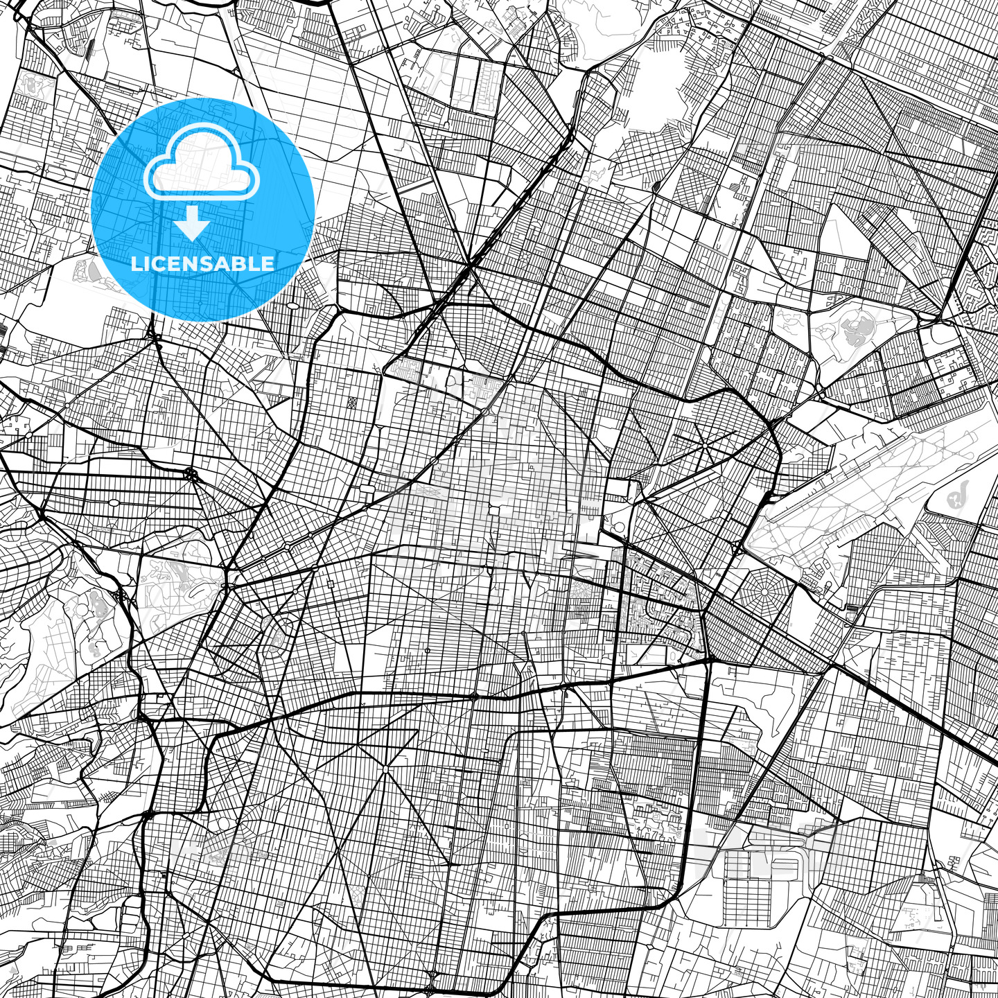 Mexico City Downtown Vector Map - HEBSTREITS