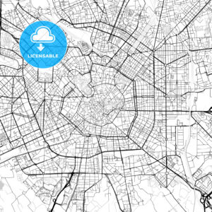 Milan, Lombardy, Downtown Vector Map - HEBSTREITS