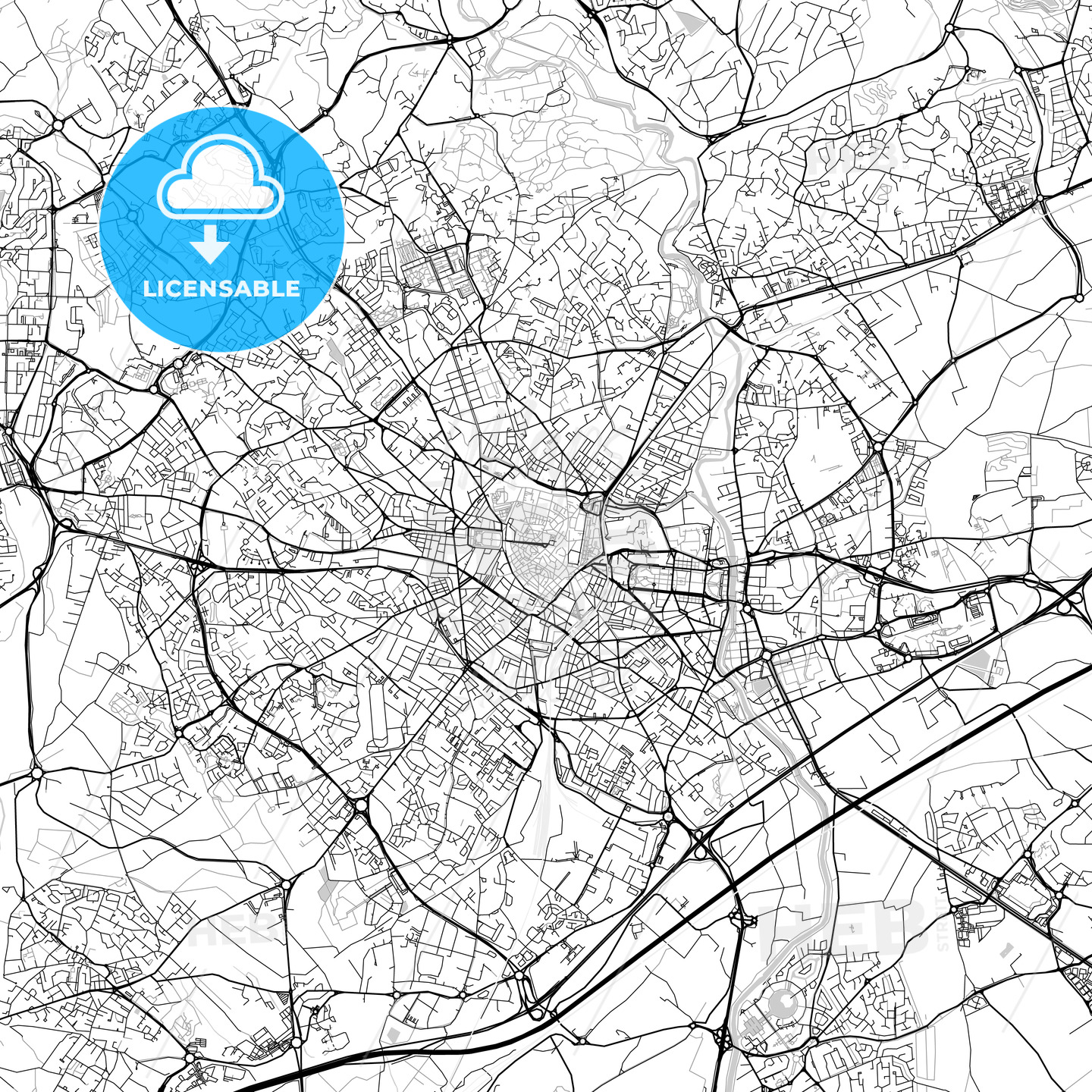 Montpellier, Hérault, Downtown Vector Map - HEBSTREITS