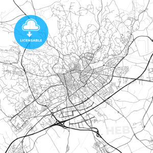 Nîmes, Gard, Downtown Vector Map - HEBSTREITS