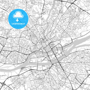 Nantes, Loire-Atlantique, Downtown Vector Map - HEBSTREITS