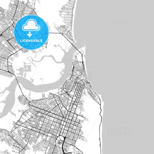 Natal, Rio Grande do Norte, Downtown Vector Map - HEBSTREITS