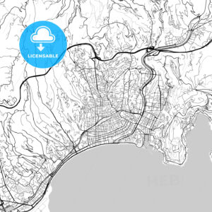 Nice, Alpes-Maritimes, Downtown Vector Map - HEBSTREITS