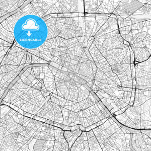 Paris, Île-de-France, Downtown Vector Map - HEBSTREITS