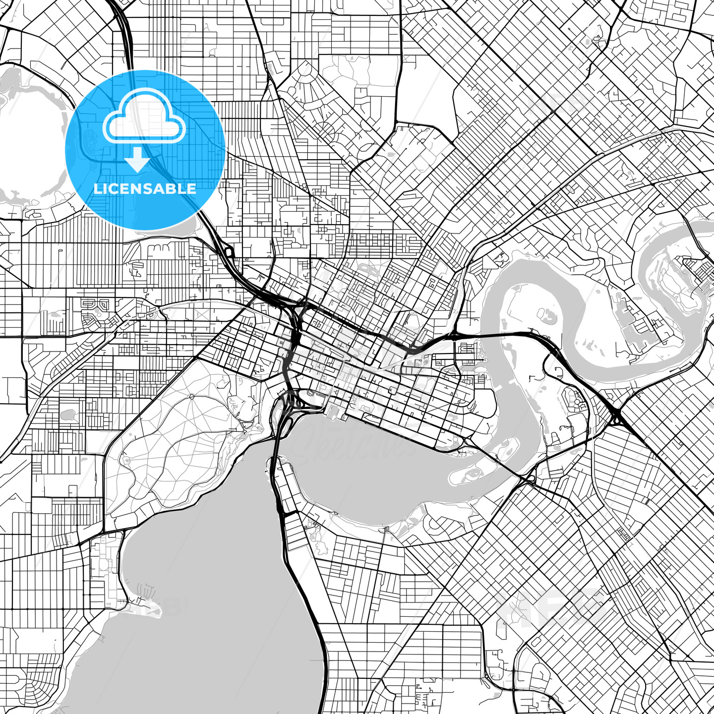 Perth, Western Australia – Downtown Vector Map - HEBSTREITS