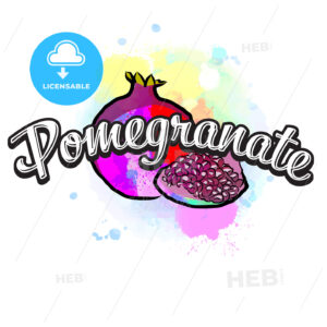 Pomegranate colorful label sign - HEBSTREITS