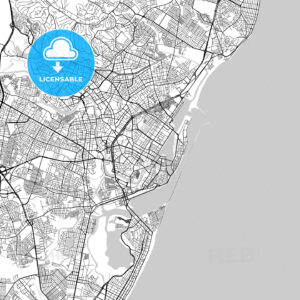Recife, Pernambuco, Downtown Vector Map - HEBSTREITS