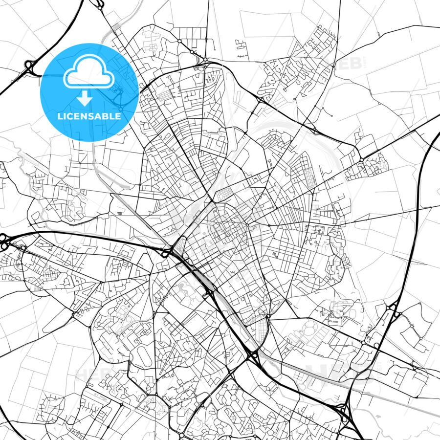 Reims, Marne, downtown map, light | HEBSTREITS