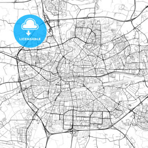 Rennes, Ille-et-Vilaine, Downtown Vector Map - HEBSTREITS