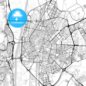 Seville, Spain – Downtown Vector Map - HEBSTREITS