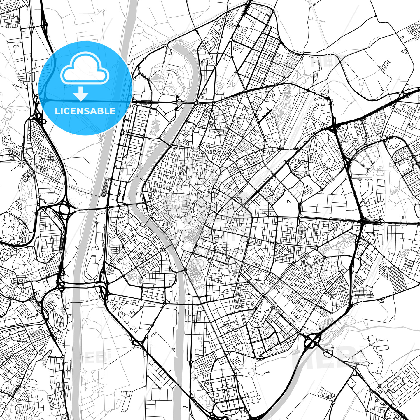 Seville, Spain - downtown map, light | HEBSTREITS