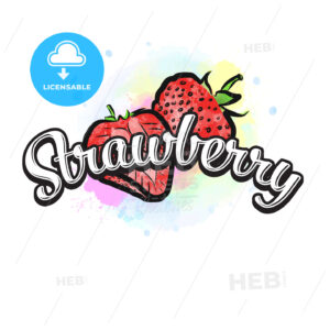 Strawberry colorful label sign - HEBSTREITS