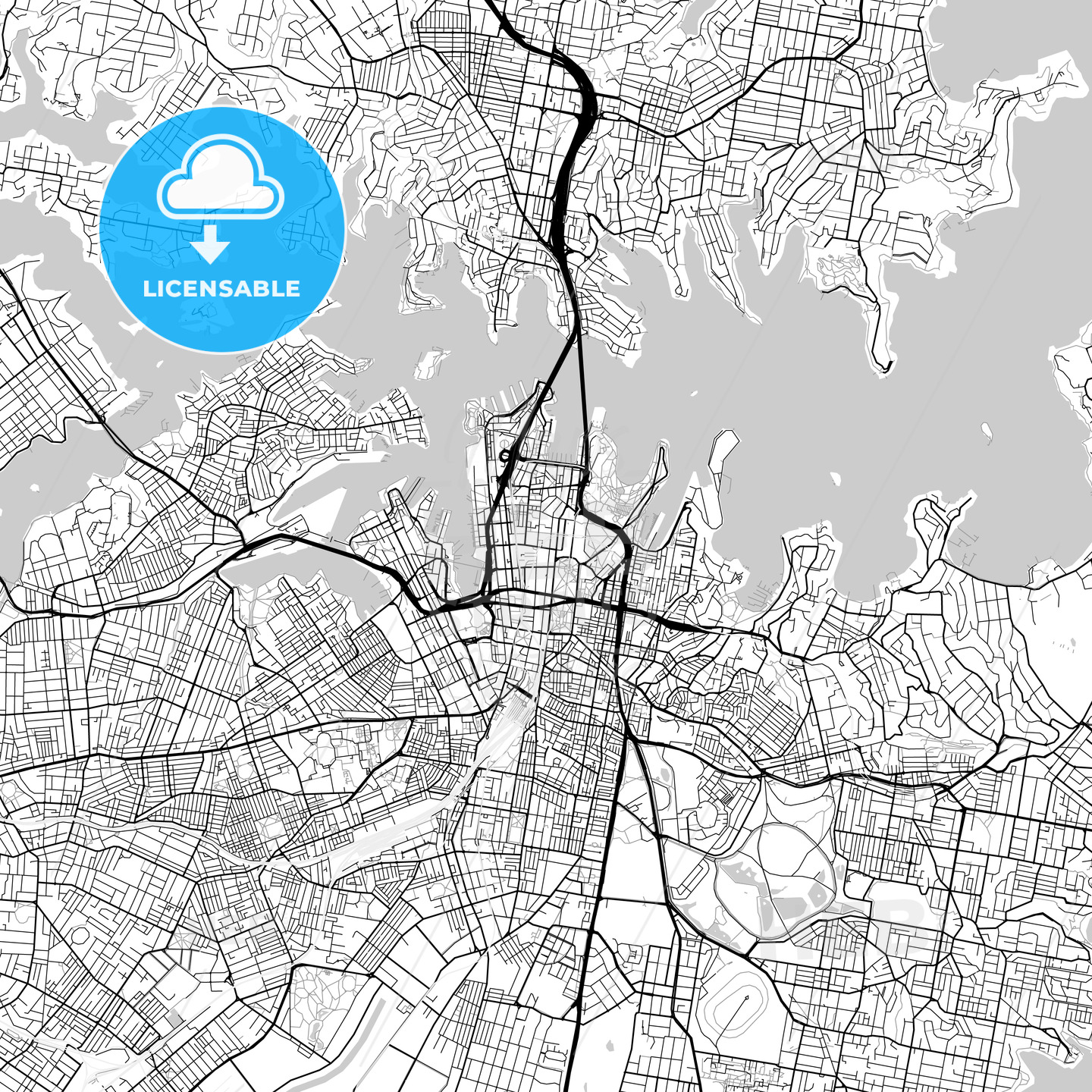 Sydney, New South Wales – Downtown Vector Map - HEBSTREITS
