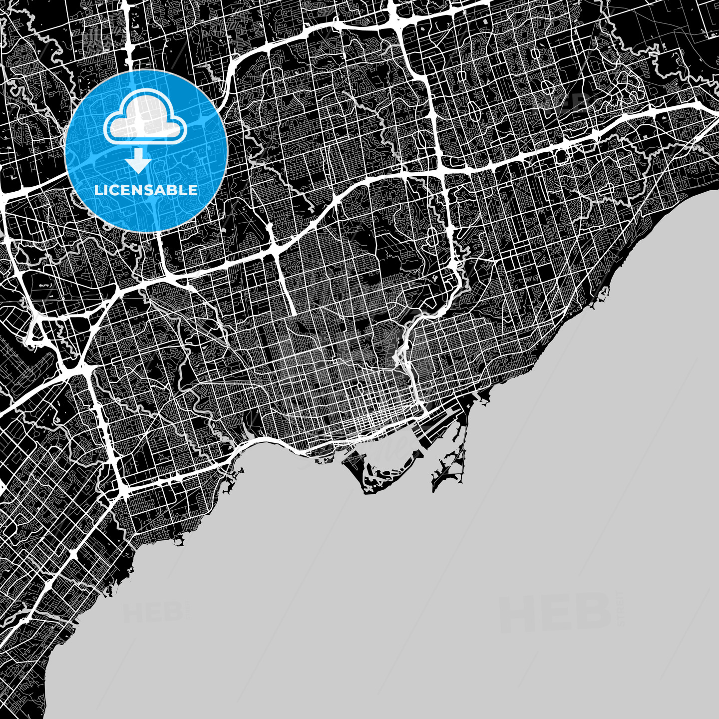 Toronto, Ontario, Area Map, Dark - HEBSTREITS