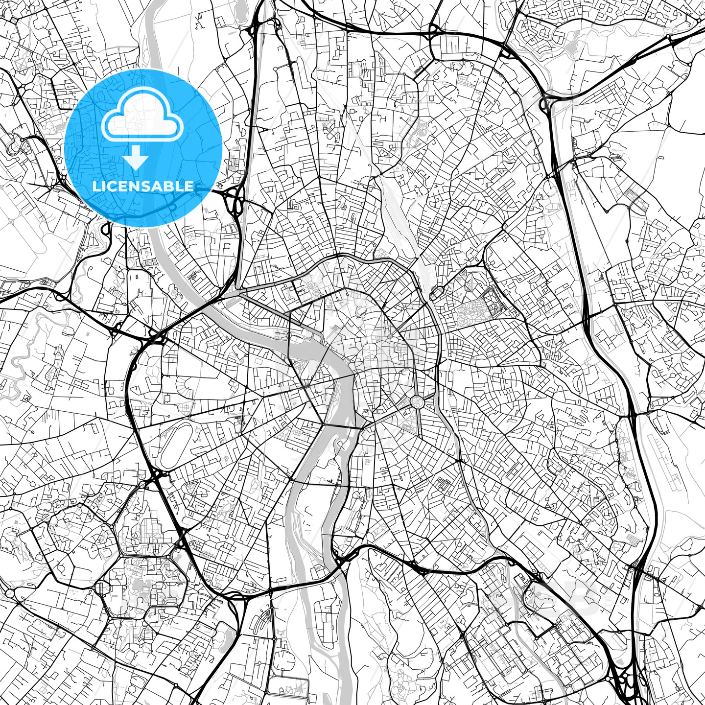 Toulouse, Haute-Garonne, Downtown Vector Map - HEBSTREITS