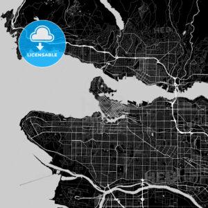Vancouver, British Columbia, Area Map, Dark - HEBSTREITS