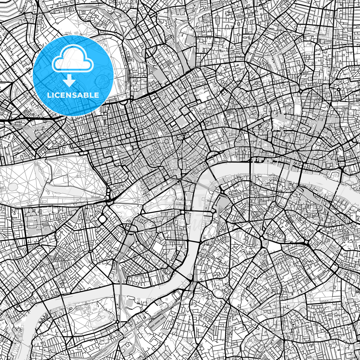London City Area Map.Vector Map Of London City