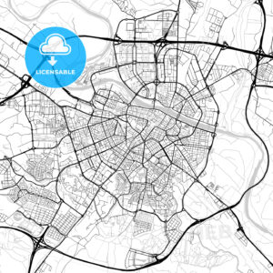 Zaragoza, Spain – Downtown Vector Map - HEBSTREITS