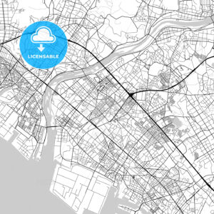 加古川市 Kakogawa, City Map, Light - HEBSTREITS