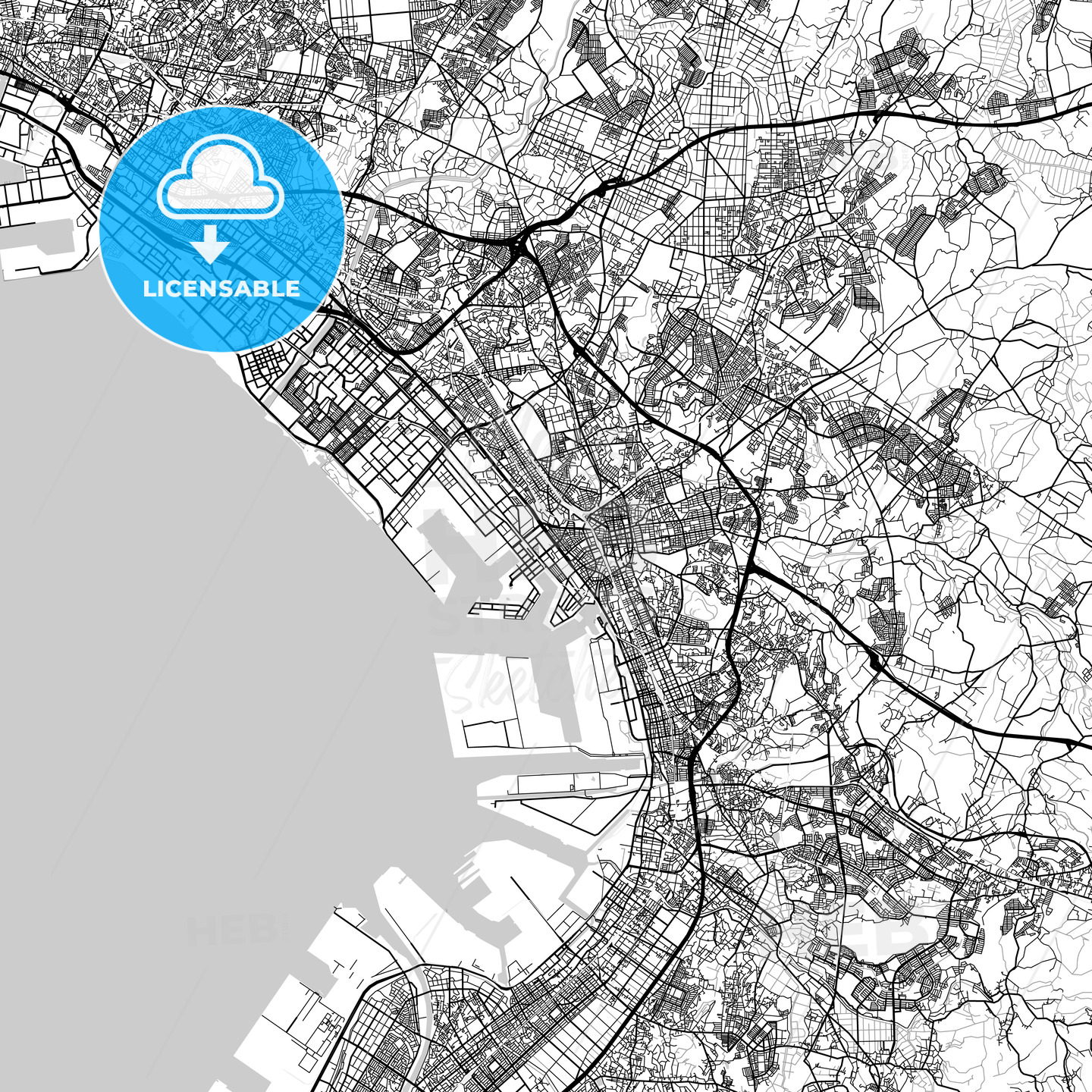 千葉市 Chiba, City Map, Light - HEBSTREITS