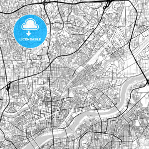 吹田市 Suita, City Map, Light - HEBSTREITS