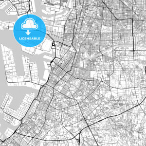 堺市 Sakai, City Map, Light - HEBSTREITS