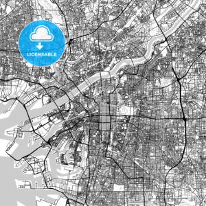 大阪市 Osaka, City Map, Light - HEBSTREITS