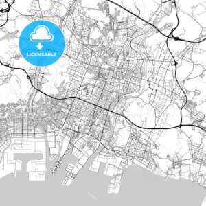 姫路市 Himeji, City Map, Light - HEBSTREITS