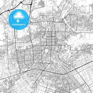 岡山市 Okayama, City Map, Light - HEBSTREITS