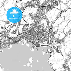 広島市 Hiroshima, City Map, Light - HEBSTREITS
