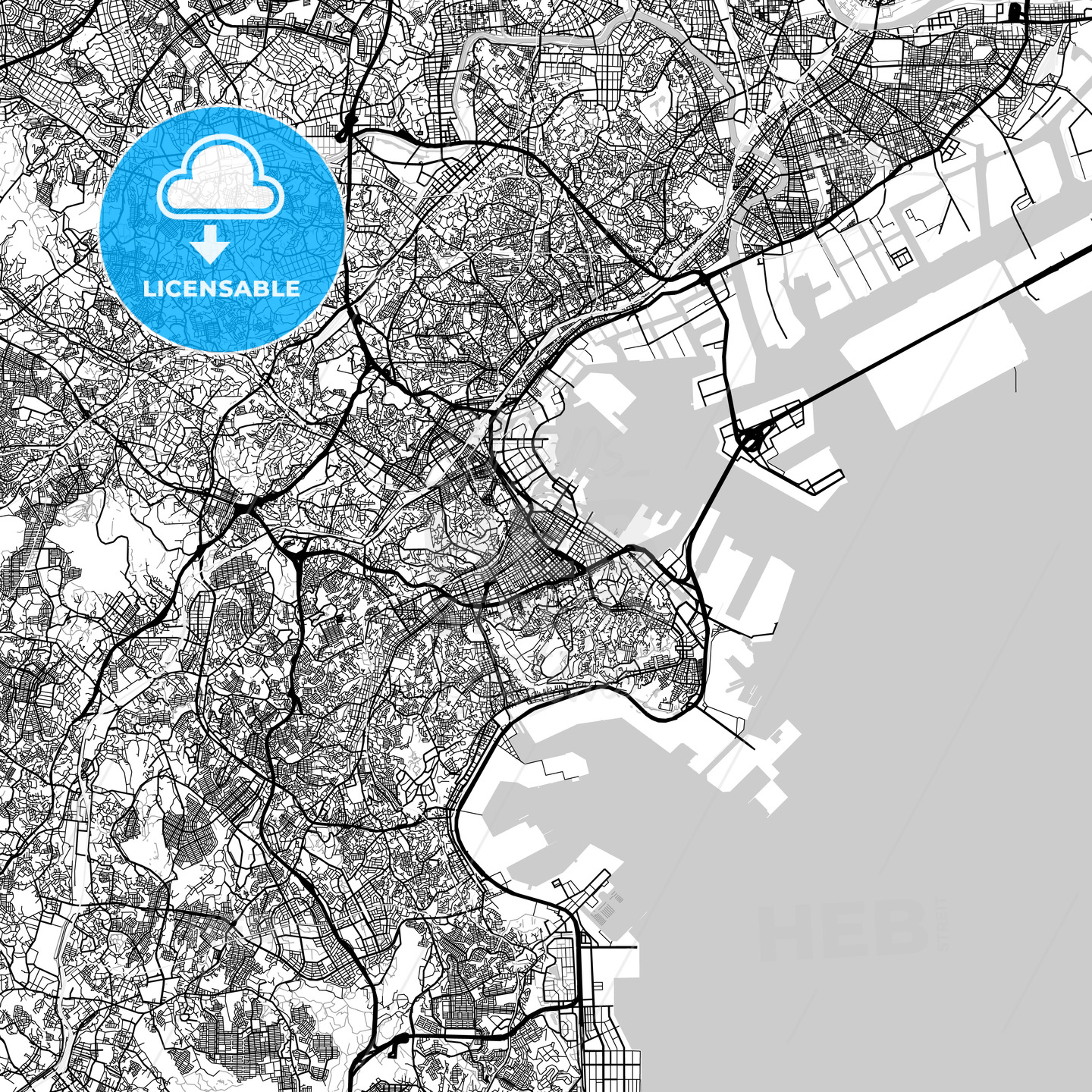 横浜市 Yokohama, City Map, Light - HEBSTREITS