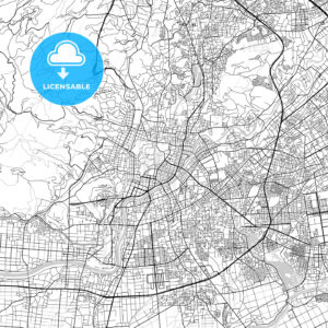 熊本市 Kumamoto, City Map, Light - HEBSTREITS