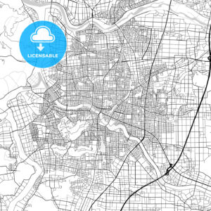 福井市 Fukui, City Map, Light - HEBSTREITS