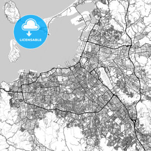福岡市 Fukuoka, City Map, Light - HEBSTREITS