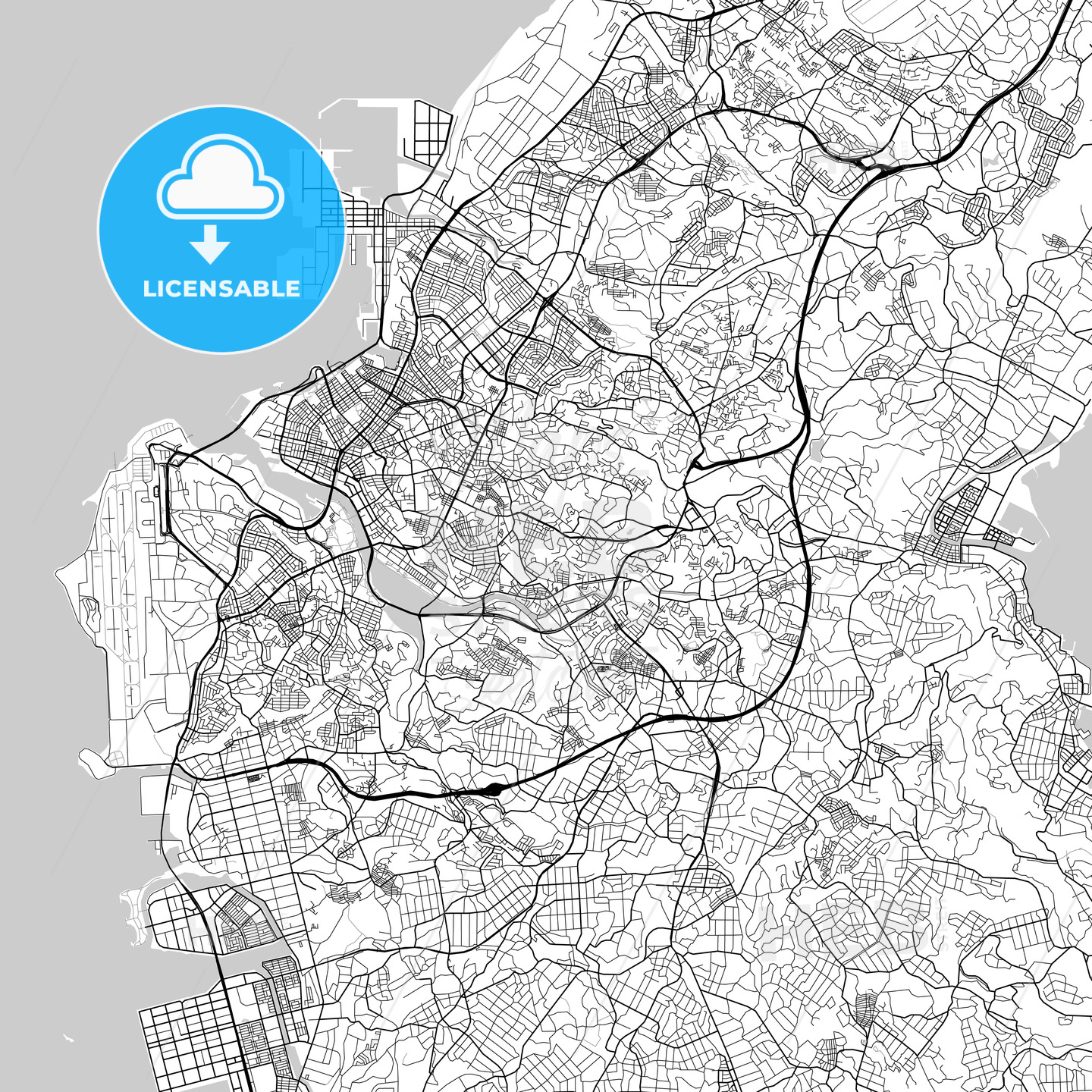 那覇市 Naha, City Map, Light - HEBSTREITS