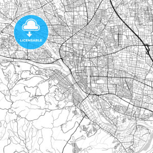 高崎市 Takasaki, City Map, Light - HEBSTREITS