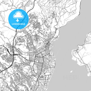 鹿児島市 Kagoshima, City Map, Light - HEBSTREITS