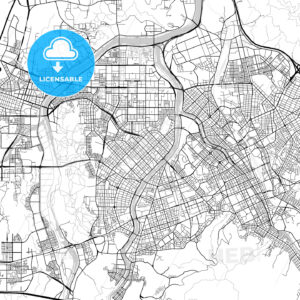 대전광역시 Daejeon City Map, Light - HEBSTREITS