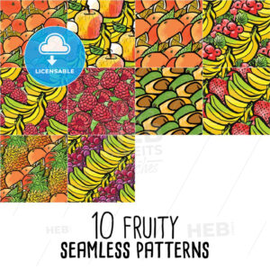 10 seamless patterns of fresh fruits - HEBSTREITS